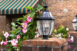 Brick lamp flowers